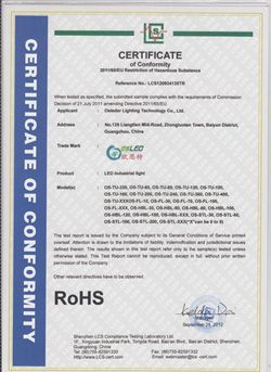 LED industrial Light ROHS Certiricate