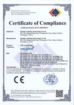 LED Tri-proof Light ROHS Certiricate