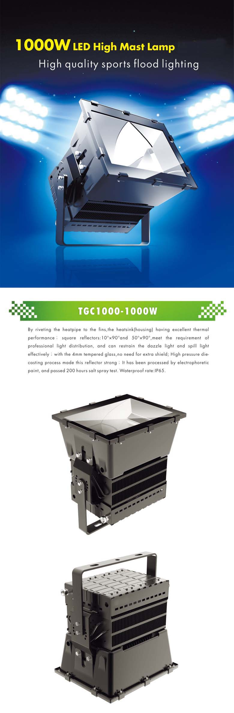 1000w led flood light application