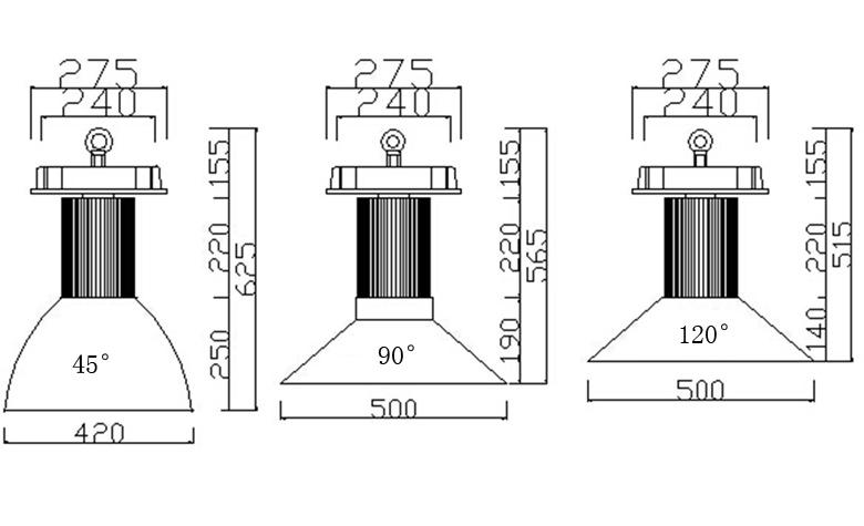 led high bay light a series 150w size