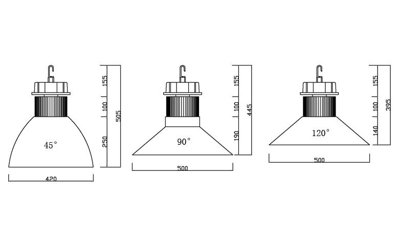 led high bay light a series 50w size