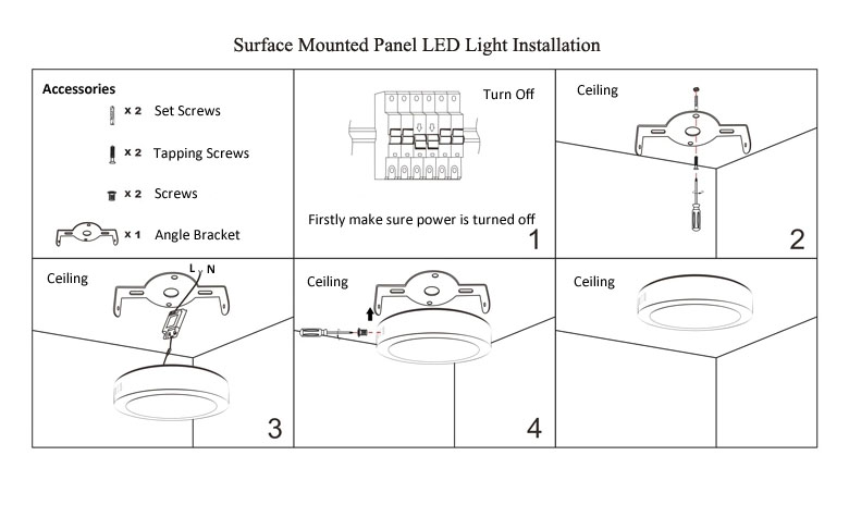 Surface Mounted LED Panel Light 170x170 780x475 Installation