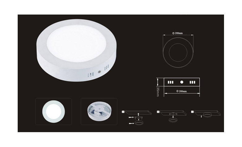 Surface Mounted Round LED Panel Light 15W D200mm 780x475 size