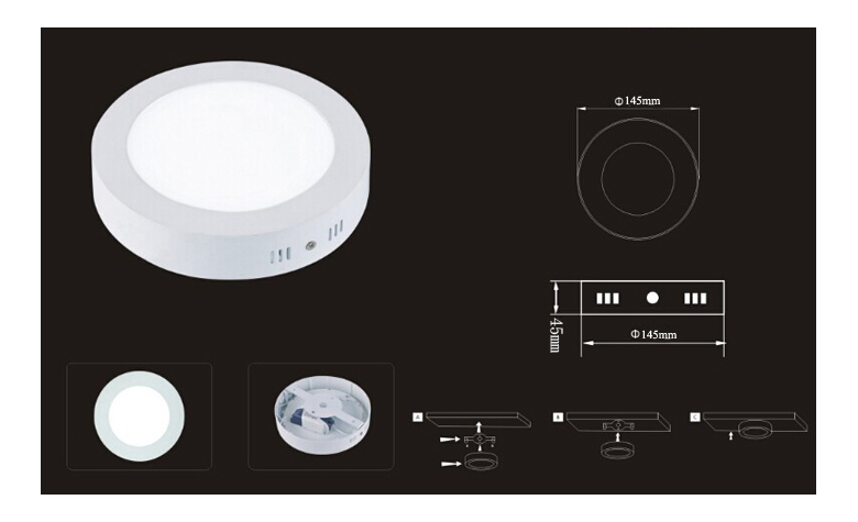 Surface Mounted Round LED Panel Light 9W D145mm 780x475 size
