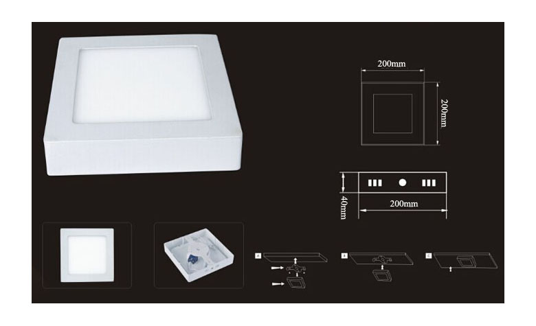 Surface Mounted Square LED Panel Light 14W 200x200mm 780x475 d
